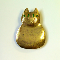 far cat brooch, cat jewellery,green eyed cat