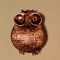 small copper owl brooch