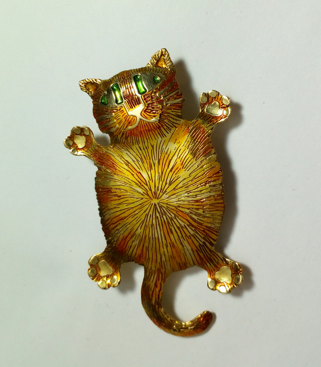 Fat cat brooch,cat jewellery, ginger cat, marmalade cat