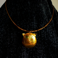Marmalade or ginger cat face pendant necklace