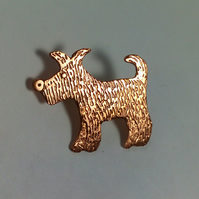 copper dog brooch or puppy brooch