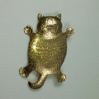 Happy fat cat brooch