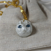 White cat resin necklace