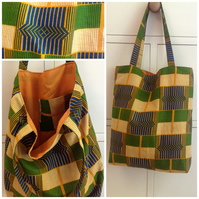 Kente print cotton tote bag
