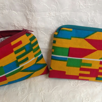 African print zipped purse - Kente print