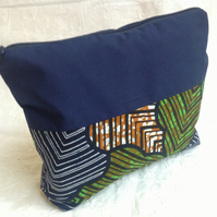 Large African print zipped pouch