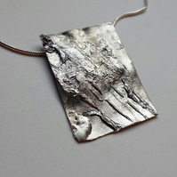 Stunning large silver pendant, textured silver square pendant. wearable art.