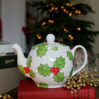 Holly Teapot 6 Cup Hand Painted UK