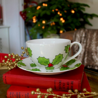 Holly Teacup and saucer Hand Painted English China Christmas cuppa