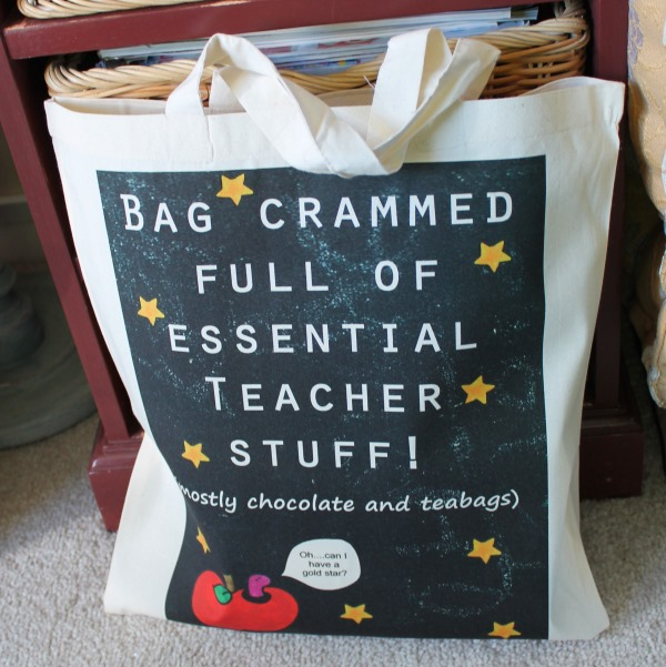 Teacher Stuff Bag Great comical gift for teachers apple gold star blackboard