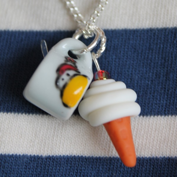 Beach Hut and Ice cream Summer Days Necklace
