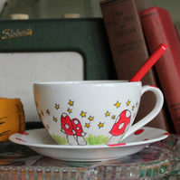 Mushroom Teacup Cappuccino Cup and Saucer Giant Teacup Stars Red and white spots