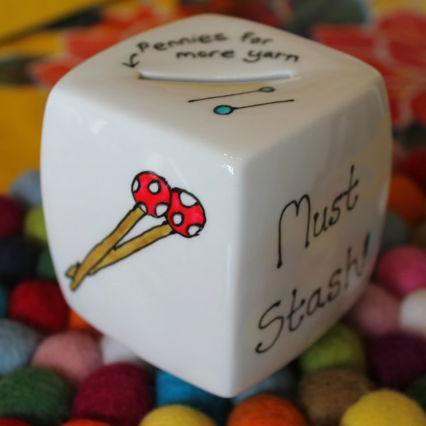 Knitter's Money Box - Hand Painted - Fine China - Piggy Bank