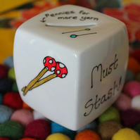 Knitters money box saving for yarn wool knitting hand painted