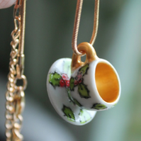 Miniature Christmas holly teacup and saucer necklace The perfect Jewellery piece