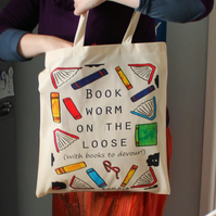 Book worm bag funny reading gift bookworm library bag with colourful books