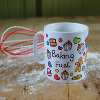 Baking Fuel Mug - Cooking Cup - Printed Stoneware - Gingerbread - Cupcakes