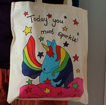 Unicorn bag colourful rainbow printed tote bag and matching badge!
