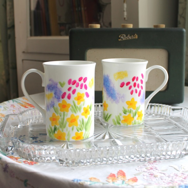Meadow flowers painterly mug hand painted as seen in the press