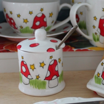 Mushroom honey jar jam jar stars and spotty mushrooms hand painted