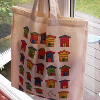 Beach huts tote bag and badge gift set