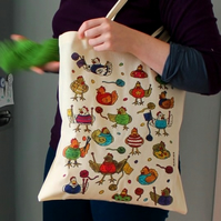 Knitting chickens tote bag and badge gift set