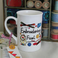 Embroidering Fuel Mug gift for embroidery lovers