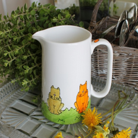 Colourful cats custard farmhouse jug