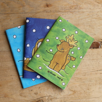 Snowy woodland animal notebook set