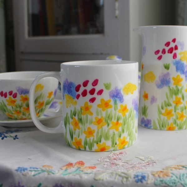 Hand painted meadow pint mug