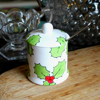 Holly preserve jam pot