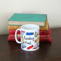 HALF PRICE SALE 'Reading fuel' stoneware printed mug Readers gift books