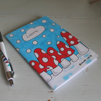Personalised Snowy mushroom note book
