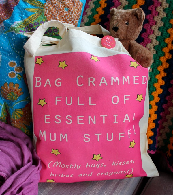 Mum stuff bag colourful cerise pink printed tote bag and matching badge!
