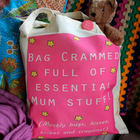Mum stuff bag colourful pink printed tote bag & matching badge!