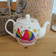 Pink unicorn today you must sparkle 4 cup teapot hand painted fine china