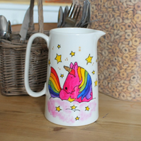 Pink unicorn milk jug hand painted rainbow unicorn