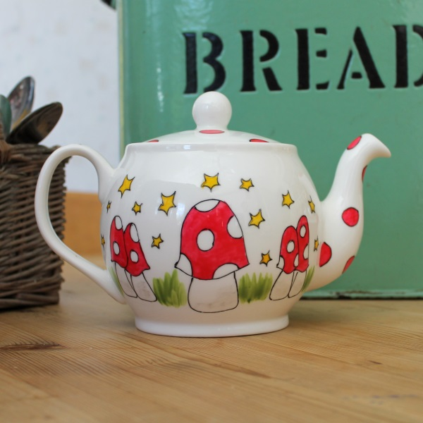 Mushroom 4 cup teapot hand painted fine china