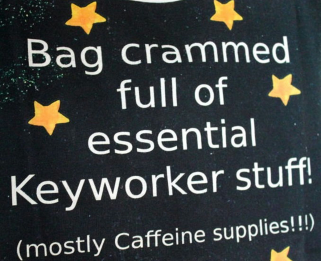 Keyworker teacher tote bag chalkboard key worker bag funny gift