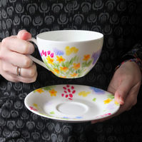 Meadow flowers teacup and saucer hand painted