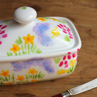 Meadow flowers butter dish hand painted floral butterdish