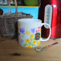 Meadow flowers Pint mug Jumbo cup hand painted in the press