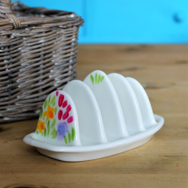 Meadow flowers toast rack hand painted china toast rack