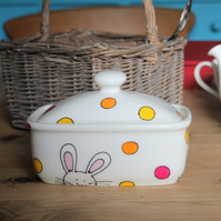 Bunny butter dish white rabbits and coloured spots hand painted butter boat