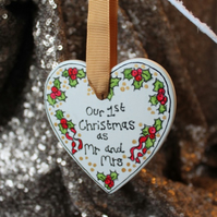 Personalised tree decoration holly heart custom bauble