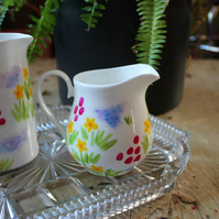 Meadow flowers hand painted fine china milk jug