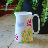 Meadow flowers painterly Jug hand painted English fine china as seen in the pres