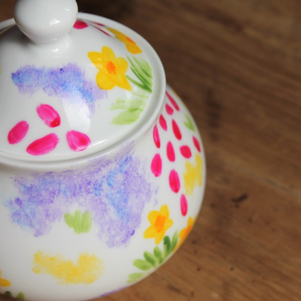 Meadow flowers sugar bowl pretty floral storage pot