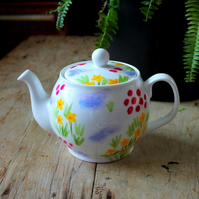 4-6 cup teapot Meadow flowers hand painted china teapot pretty florals cottage
