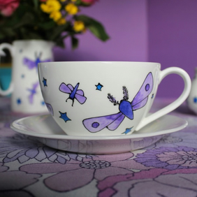 Violet Moth Teacup and saucer moths tea cup pretty purple jumbo large teacup